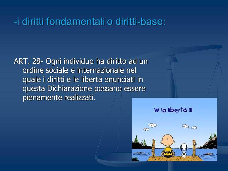 -i diritti fondamentali o diritti-base: ART. 28- Ogni individuo ha diritto ad un ordine sociale e internazionale nel quale i diritti e le libertà enun