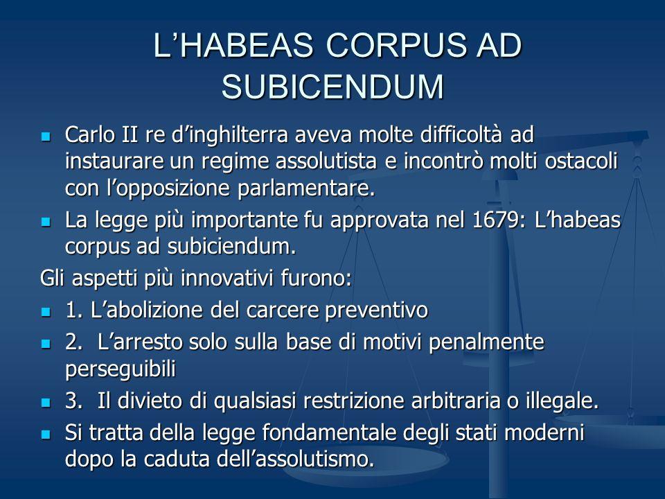 LHABEAS CORPUS AD SUBICENDUM LHABEAS CORPUS AD SUBICENDUM Carlo II re dinghilterra aveva molte difficoltà ad instaurare un regime assolutista e incontrò molti ostacoli con lopposizione parlamentare.