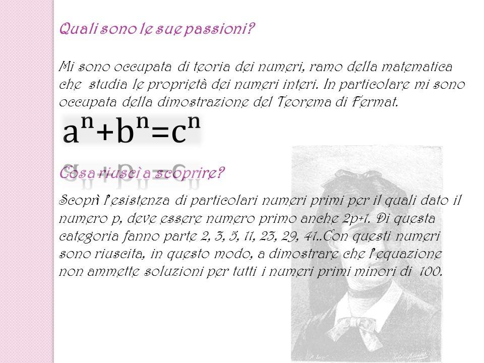 Quali sono le sue passioni? Mi sono occupata di teoria dei numeri, ramo della matematica che studia le proprietà dei numeri interi. In particolare mi