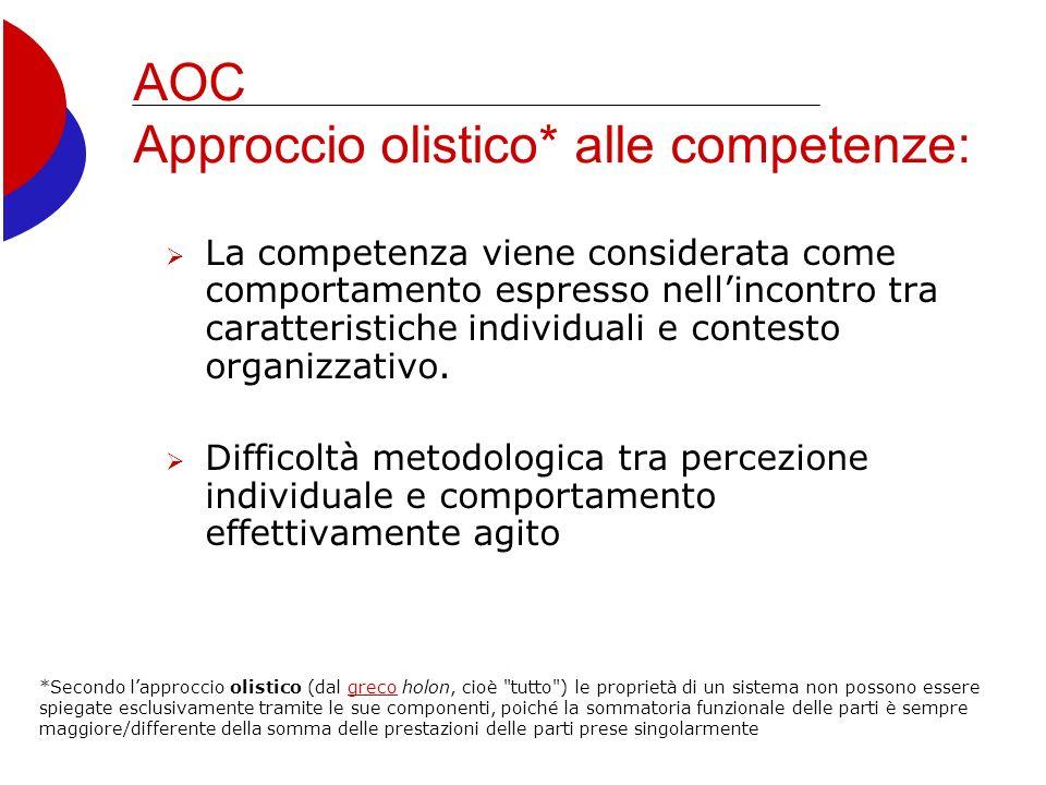 AOC Approccio olistico* alle competenze: La competenza viene considerata come comportamento espresso nellincontro tra caratteristiche individuali e contesto organizzativo.