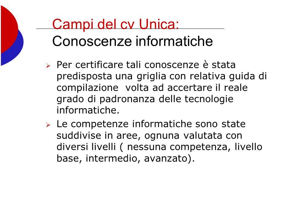 Campi del cv Unica: Conoscenze informatiche Per certificare tali conoscenze è stata predisposta una griglia con relativa guida di compilazione volta ad accertare il reale grado di padronanza delle tecnologie informatiche.