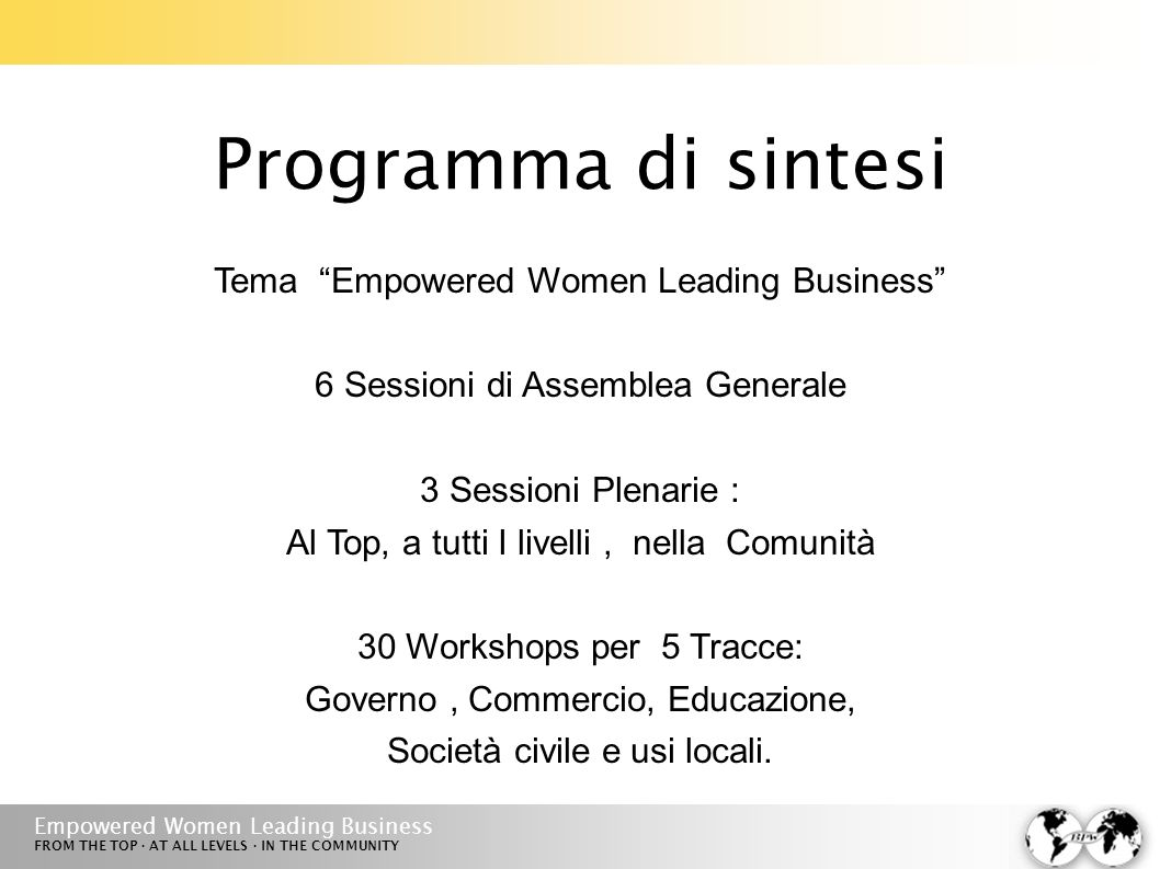 Empowered Women Leading Business FROM THE TOP · AT ALL LEVELS · IN THE COMMUNITY Programma di sintesi Tema Empowered Women Leading Business 6 Sessioni