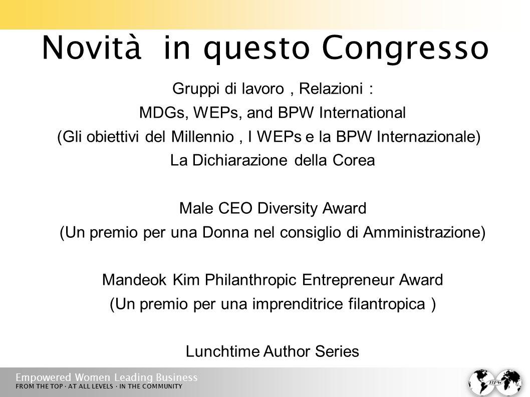 Empowered Women Leading Business FROM THE TOP · AT ALL LEVELS · IN THE COMMUNITY Novità in questo Congresso Gruppi di lavoro, Relazioni : MDGs, WEPs, and BPW International (Gli obiettivi del Millennio, I WEPs e la BPW Internazionale) La Dichiarazione della Corea Male CEO Diversity Award (Un premio per una Donna nel consiglio di Amministrazione) Mandeok Kim Philanthropic Entrepreneur Award (Un premio per una imprenditrice filantropica ) Lunchtime Author Series
