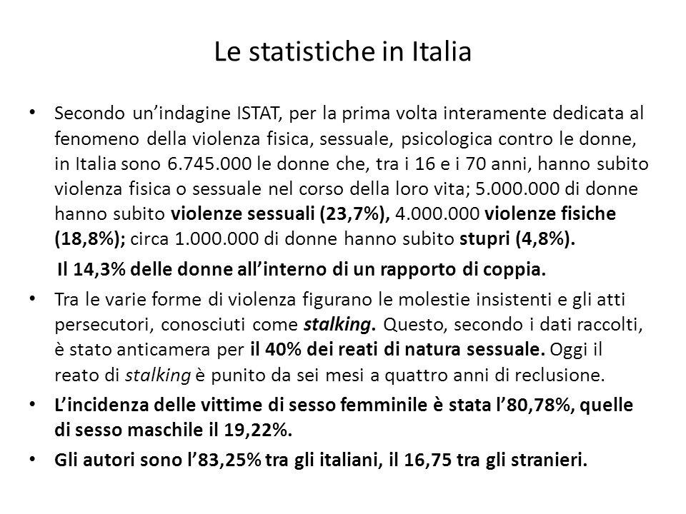 Le statistiche in Italia Secondo unindagine ISTAT, per la prima volta interamente dedicata al fenomeno della violenza fisica, sessuale, psicologica contro le donne, in Italia sono 6.745.000 le donne che, tra i 16 e i 70 anni, hanno subito violenza fisica o sessuale nel corso della loro vita; 5.000.000 di donne hanno subito violenze sessuali (23,7%), 4.000.000 violenze fisiche (18,8%); circa 1.000.000 di donne hanno subito stupri (4,8%).