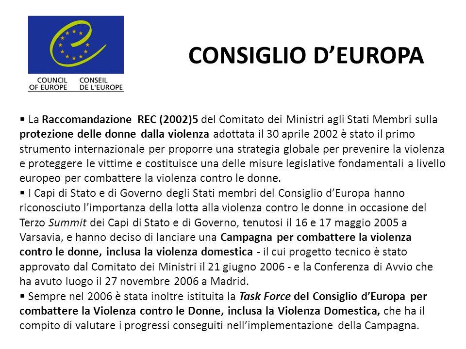 CONSIGLIO DEUROPA La Raccomandazione REC (2002)5 del Comitato dei Ministri agli Stati Membri sulla protezione delle donne dalla violenza adottata il 3