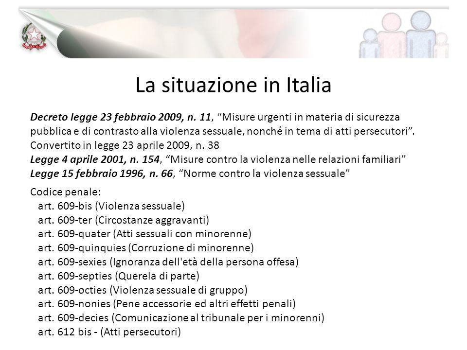La situazione in Italia Decreto legge 23 febbraio 2009, n. 11, Misure urgenti in materia di sicurezza pubblica e di contrasto alla violenza sessuale,