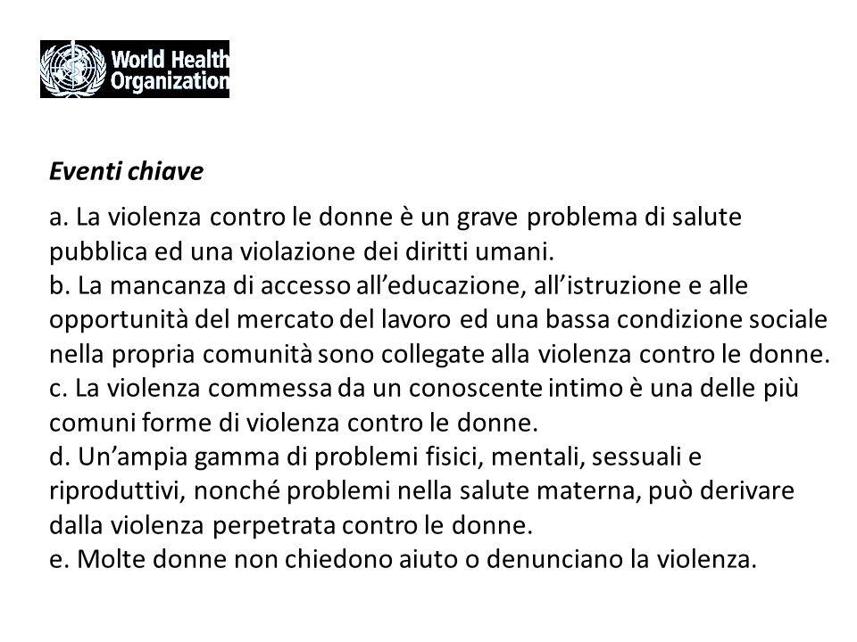 Eventi chiave a. La violenza contro le donne è un grave problema di salute pubblica ed una violazione dei diritti umani. b. La mancanza di accesso all