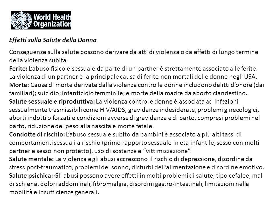 Effetti sulla Salute della Donna Conseguenze sulla salute possono derivare da atti di violenza o da effetti di lungo termine della violenza subita. Fe