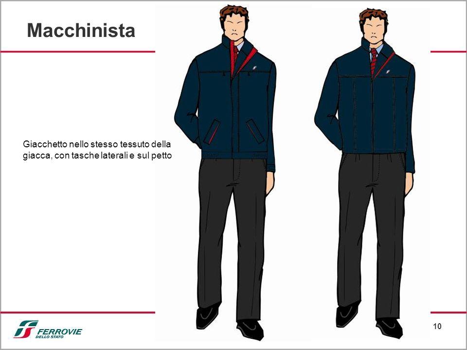 10 Macchinista Giacchetto nello stesso tessuto della giacca, con tasche laterali e sul petto