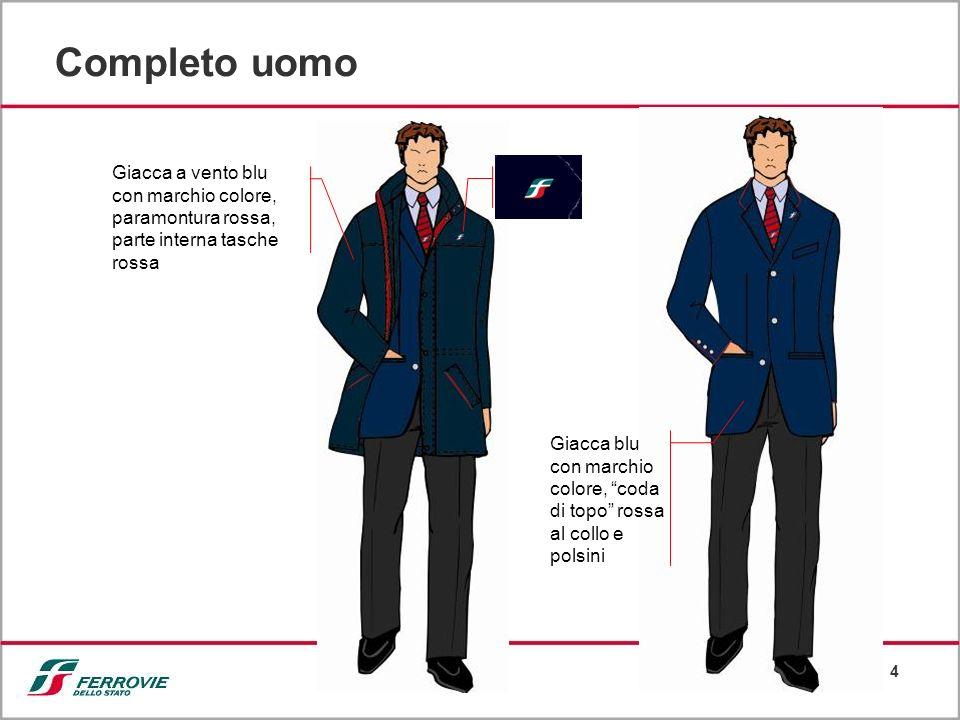 4 Completo uomo Giacca a vento blu con marchio colore, paramontura rossa, parte interna tasche rossa Giacca blu con marchio colore, coda di topo rossa