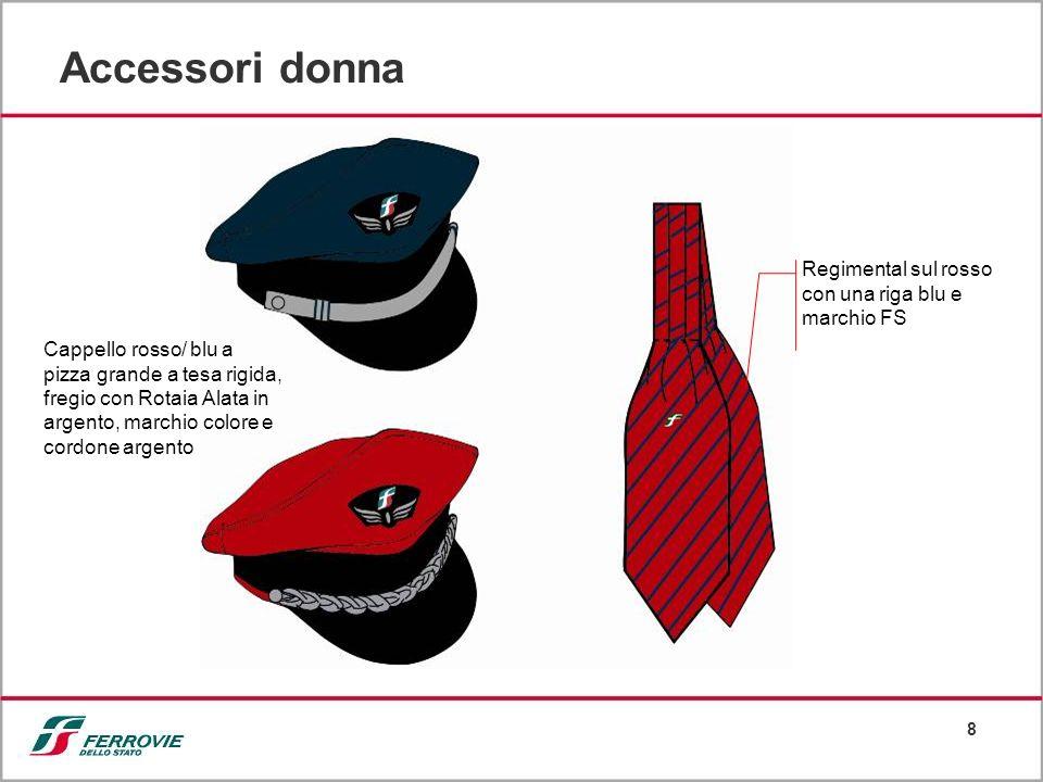 8 Accessori donna Regimental sul rosso con una riga blu e marchio FS Cappello rosso/ blu a pizza grande a tesa rigida, fregio con Rotaia Alata in arge