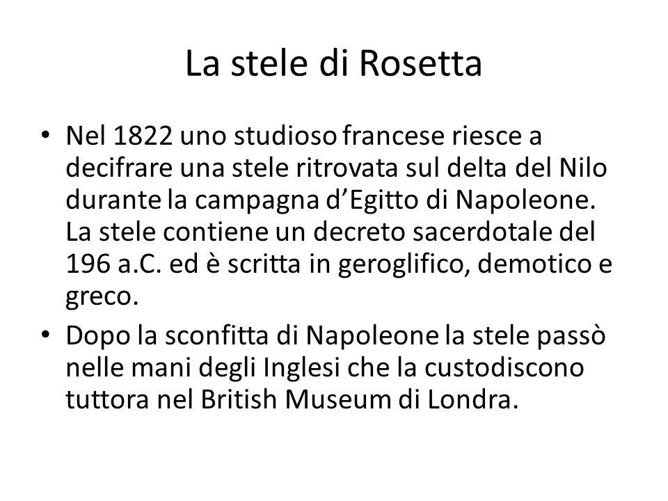 La stele di Rosetta Nel 1822 uno studioso francese riesce a decifrare una stele ritrovata sul delta del Nilo durante la campagna dEgitto di Napoleone.