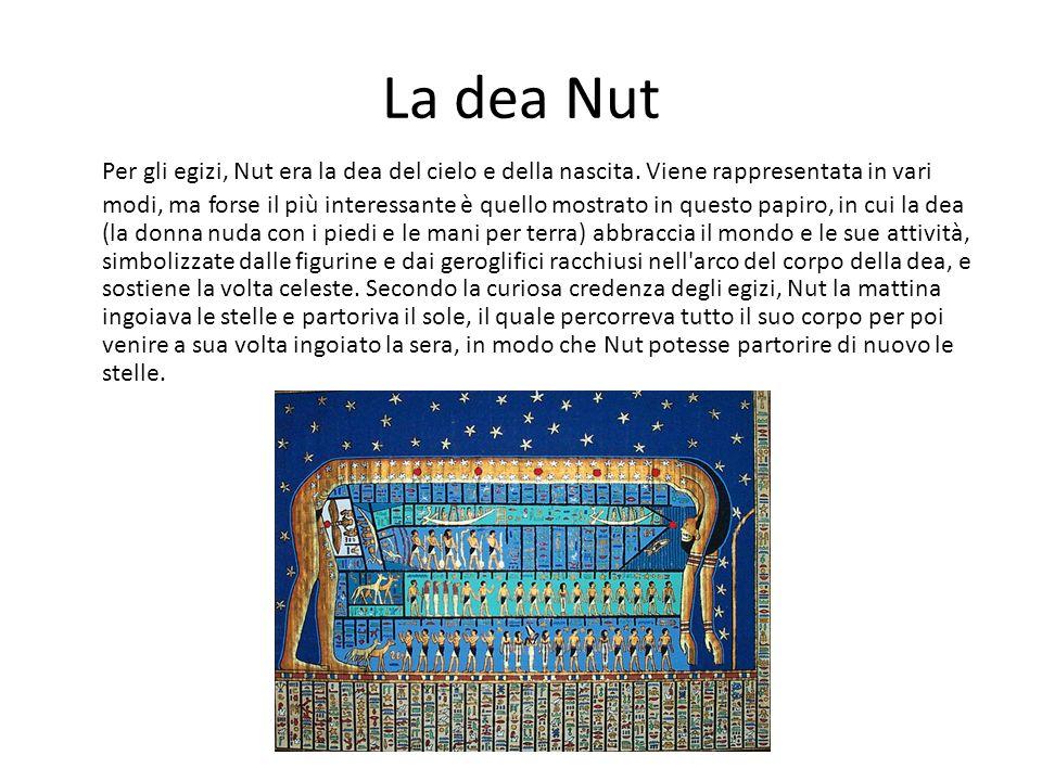 La dea Nut Per gli egizi, Nut era la dea del cielo e della nascita. Viene rappresentata in vari modi, ma forse il più interessante è quello mostrato i