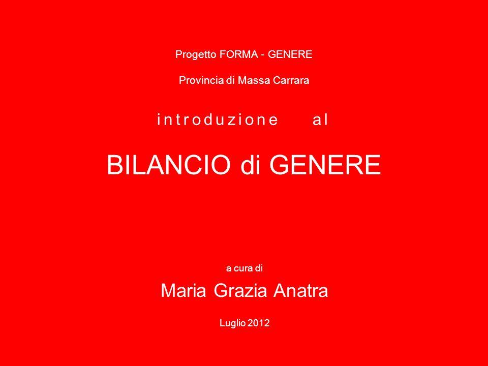 Progetto FORMA - GENERE Provincia di Massa Carrara introduzione al BILANCIO di GENERE a cura di Maria Grazia Anatra Luglio 2012