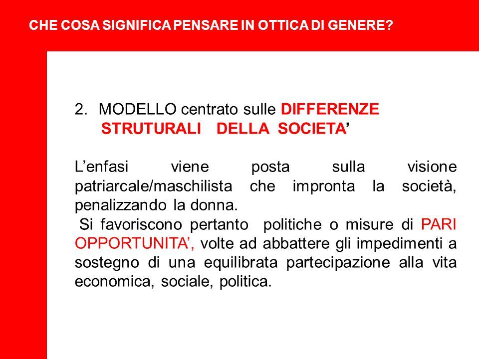 2.MODELLO centrato sulle DIFFERENZE STRUTURALI DELLA SOCIETA Lenfasi viene posta sulla visione patriarcale/maschilista che impronta la società, penalizzando la donna.