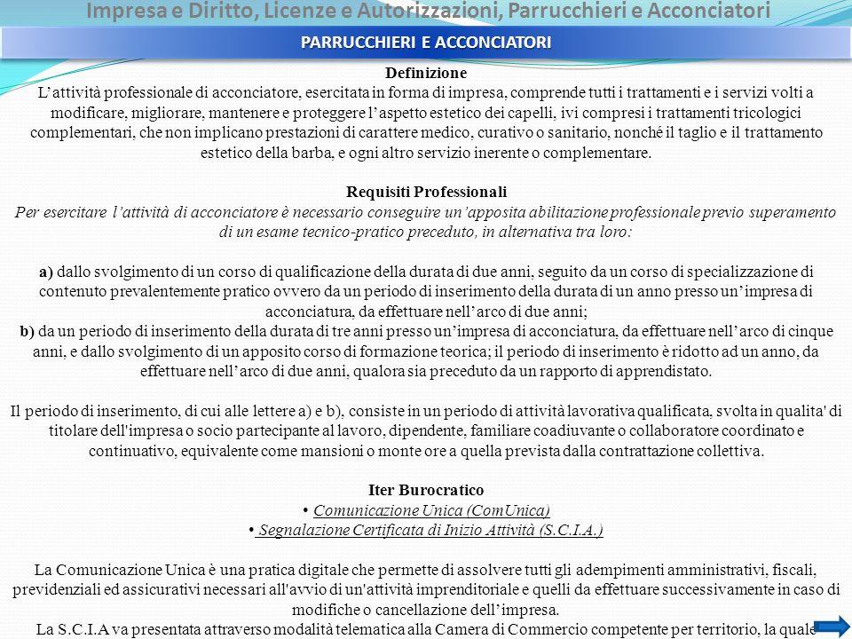 Impresa e Diritto, Licenze e Autorizzazioni, Parrucchieri e Acconciatori Definizione Lattività professionale di acconciatore, esercitata in forma di i