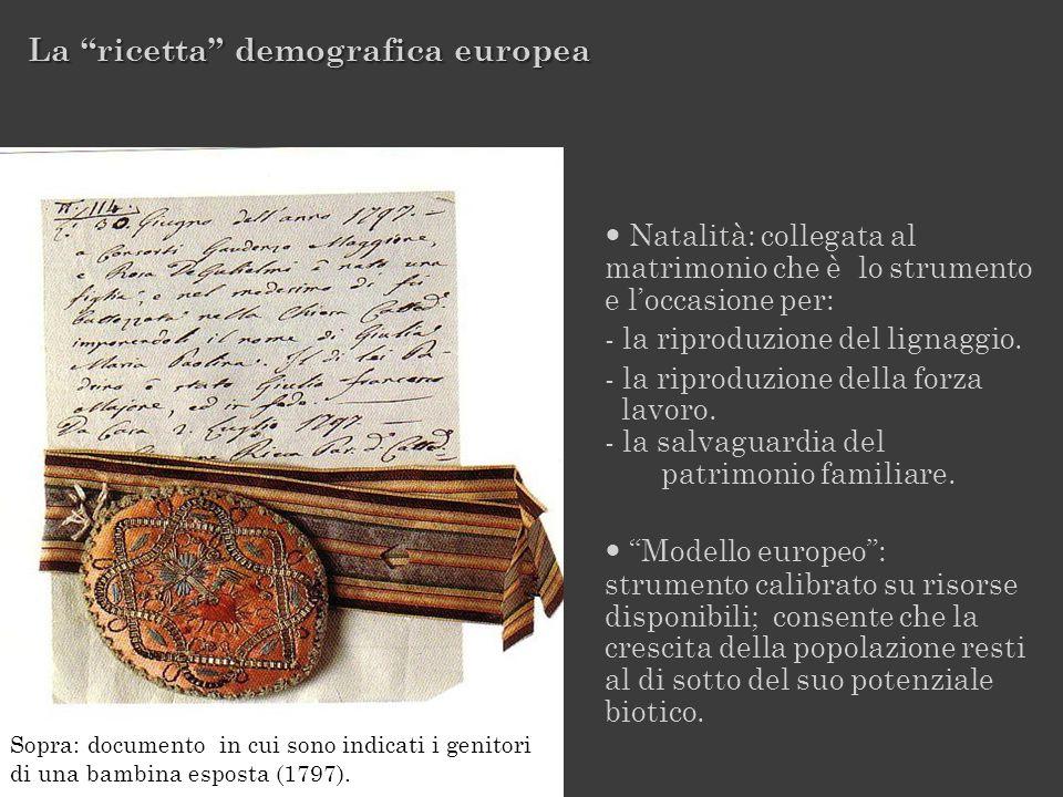Sopra: documento in cui sono indicati i genitori di una bambina esposta (1797). Natalità: collegata al matrimonio che è lo strumento e loccasione per: