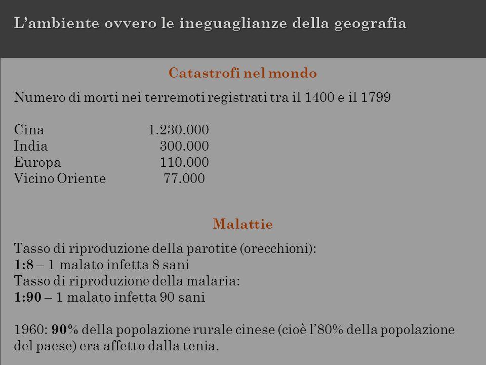 Catastrofi nel mondo Numero di morti nei terremoti registrati tra il 1400 e il 1799 Cina1.230.000 India 300.000 Europa 110.000 Vicino Oriente 77.000 M