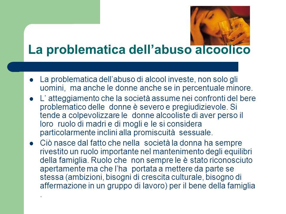 La problematica dellabuso di alcool investe, non solo gli uomini, ma anche le donne anche se in percentuale minore.
