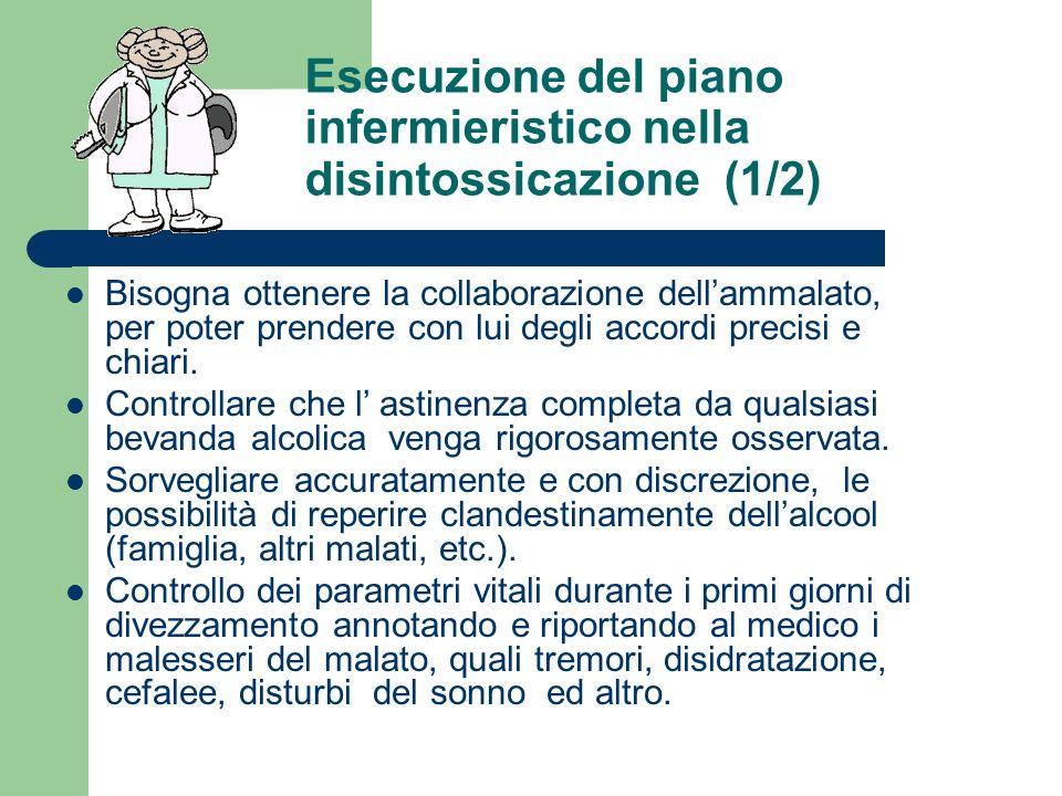 Esecuzione del piano infermieristico nella disintossicazione (1/2) Bisogna ottenere la collaborazione dellammalato, per poter prendere con lui degli accordi precisi e chiari.