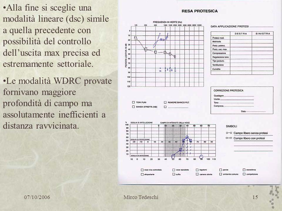 07/10/2006Mirco Tedeschi15 Alla fine si sceglie una modalità lineare (dsc) simile a quella precedente con possibilità del controllo delluscita max pre