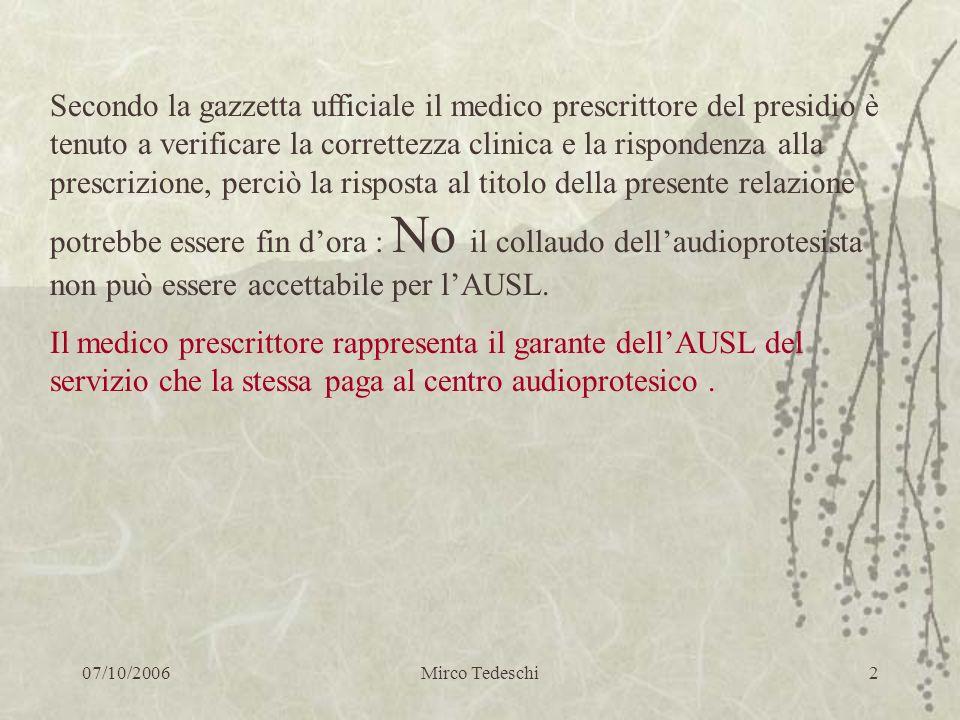 07/10/2006Mirco Tedeschi2 Secondo la gazzetta ufficiale il medico prescrittore del presidio è tenuto a verificare la correttezza clinica e la risponde