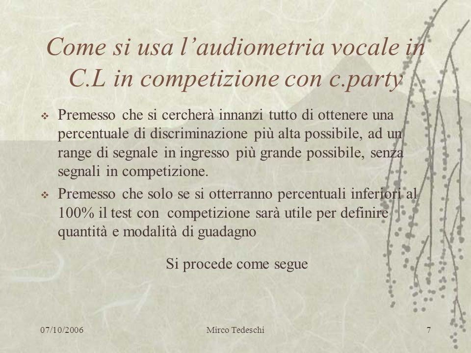 07/10/2006Mirco Tedeschi7 Come si usa laudiometria vocale in C.L in competizione con c.party Premesso che si cercherà innanzi tutto di ottenere una pe