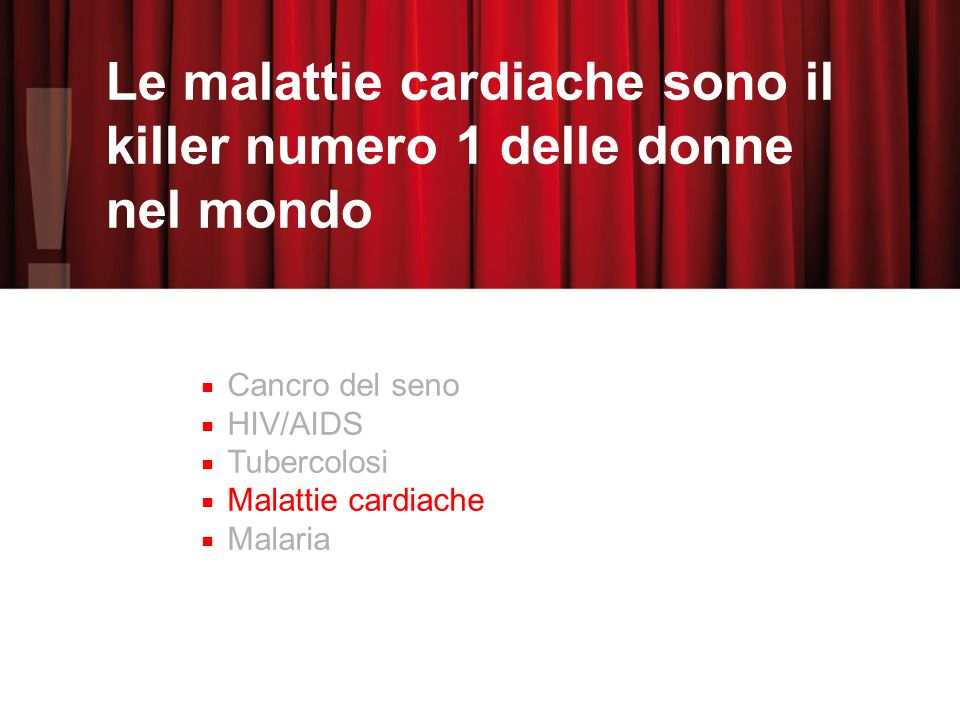 Le malattie cardiache sono il killer numero 1 delle donne nel mondo Cancro del seno HIV/AIDS Tubercolosi Malattie cardiache Malaria