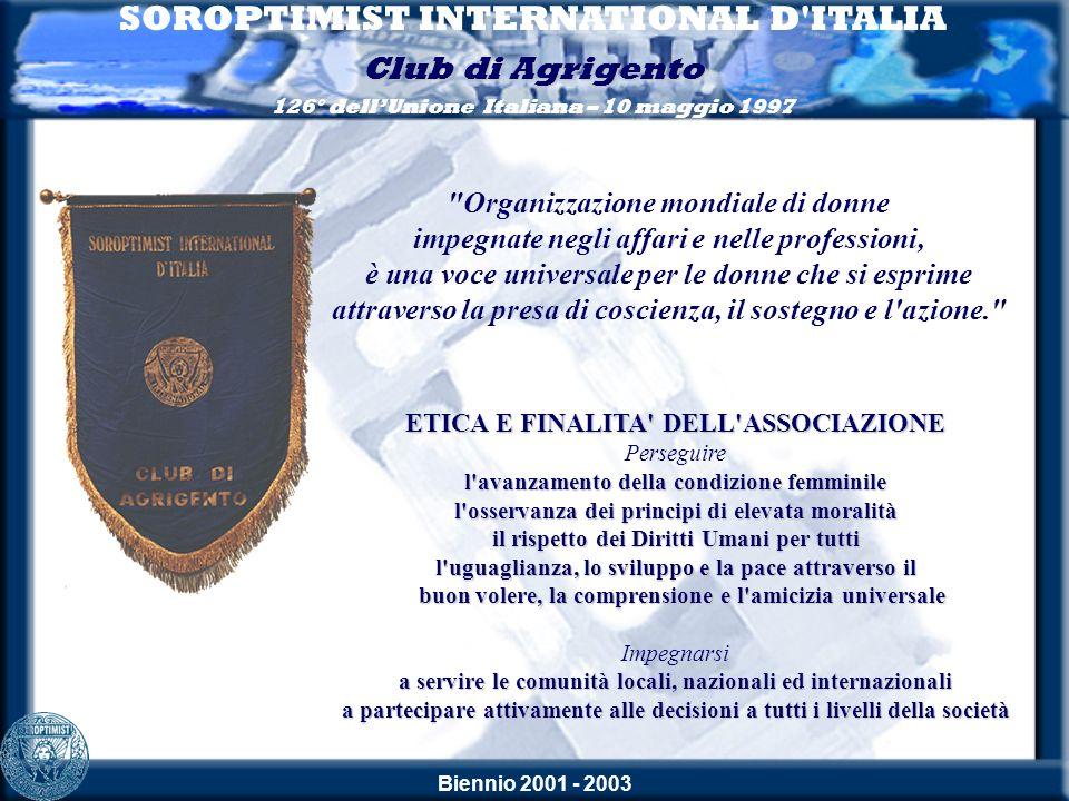 Biennio 2001 - 2003 SOROPTIMIST INTERNATIONAL D ITALIA Club di Agrigento 126° dellUnione Italiana – 10 maggio 1997 Saluto di Olga Milano Resp.