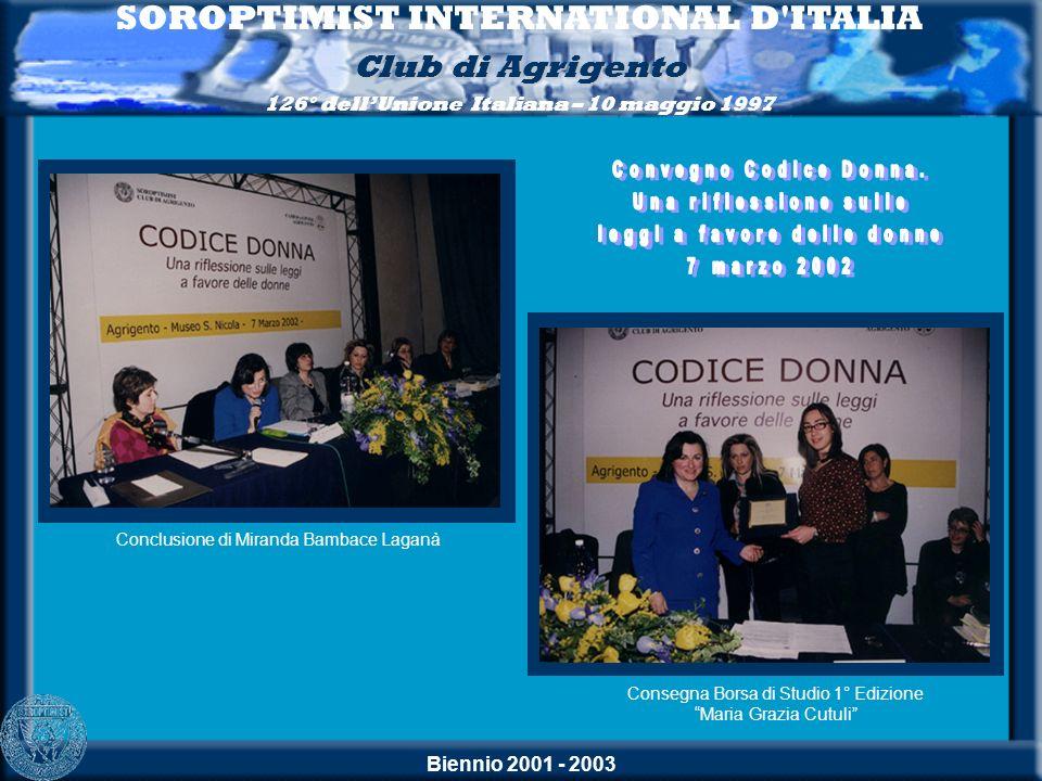 Biennio 2001 - 2003 SOROPTIMIST INTERNATIONAL D'ITALIA Club di Agrigento 126° dellUnione Italiana – 10 maggio 1997 Conclusione di Miranda Bambace Laga