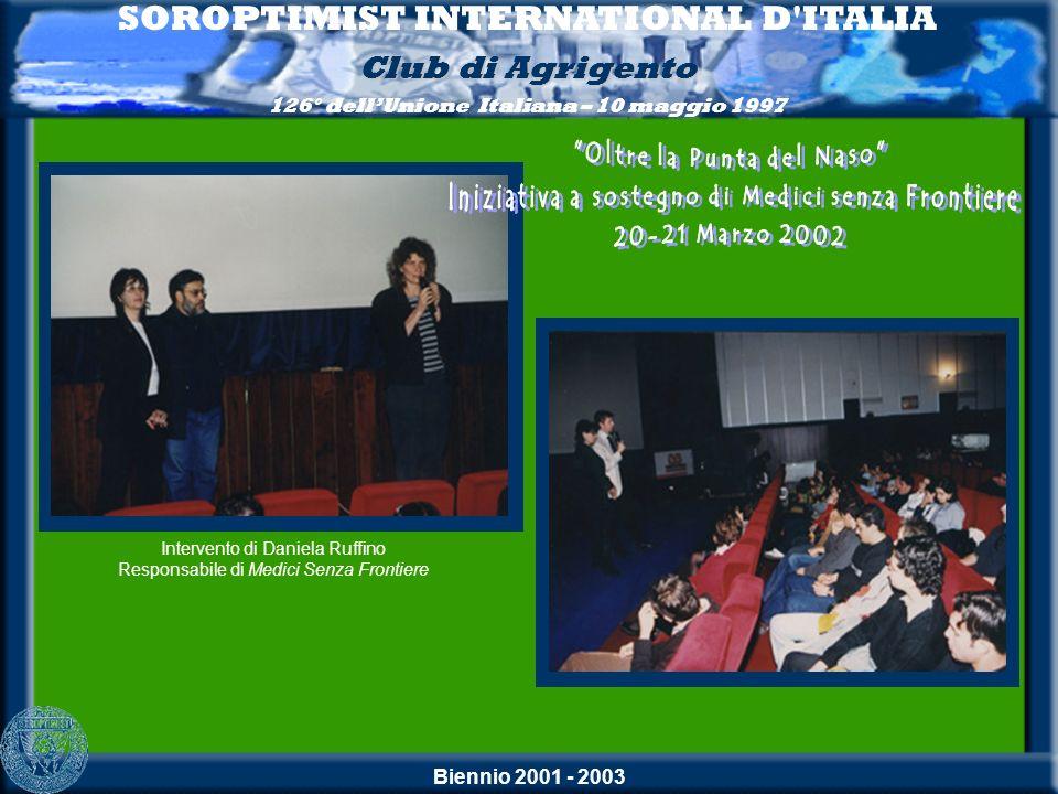 Biennio 2001 - 2003 SOROPTIMIST INTERNATIONAL D'ITALIA Club di Agrigento 126° dellUnione Italiana – 10 maggio 1997 Intervento di Daniela Ruffino Respo