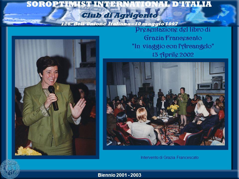 Biennio 2001 - 2003 SOROPTIMIST INTERNATIONAL D'ITALIA Club di Agrigento 126° dellUnione Italiana – 10 maggio 1997 Intervento di Grazia Francescato Pr