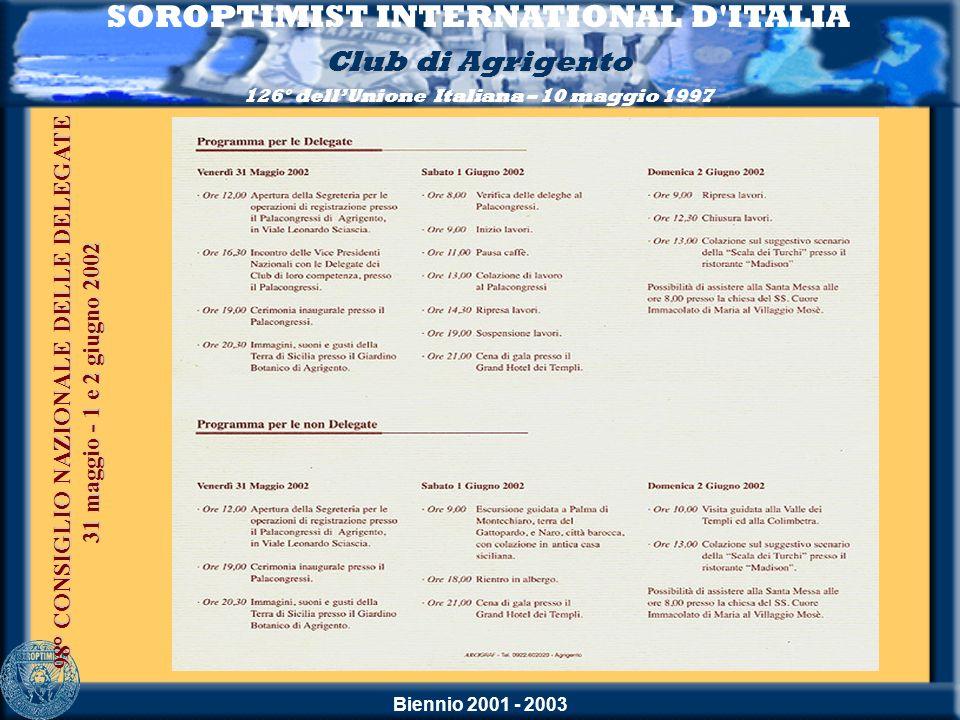 Biennio 2001 - 2003 SOROPTIMIST INTERNATIONAL D'ITALIA Club di Agrigento 126° dellUnione Italiana – 10 maggio 1997 98° CONSIGLIO NAZIONALE DELLE DELEG
