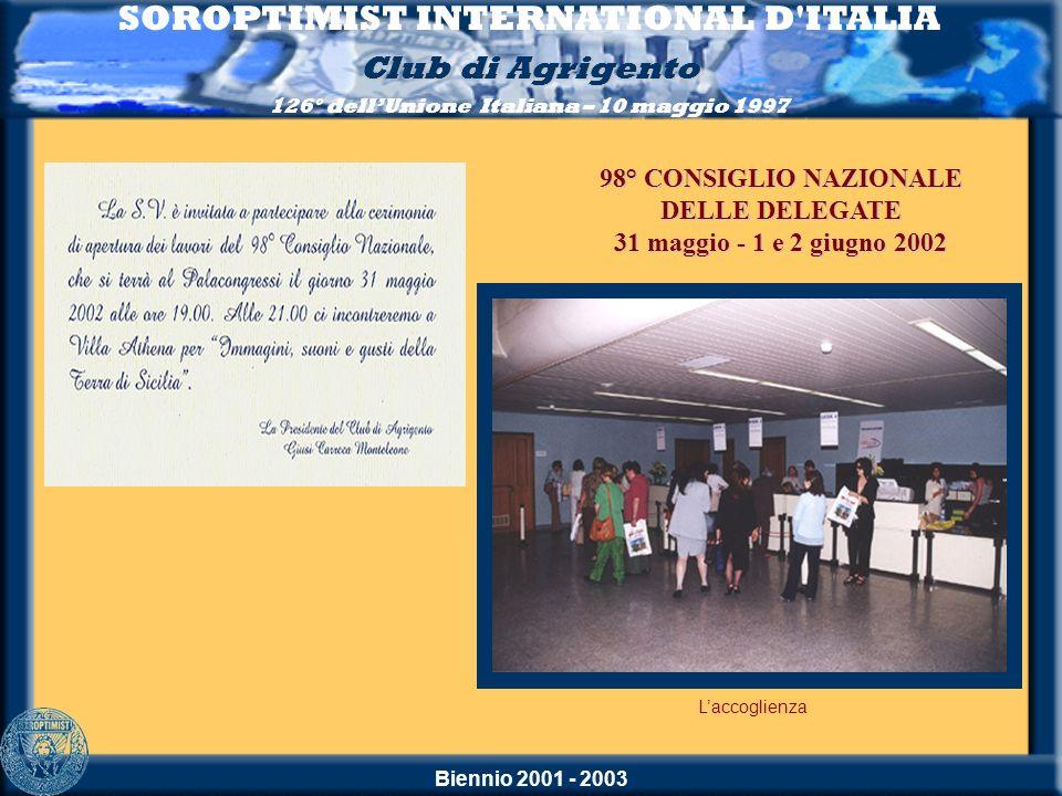 Biennio 2001 - 2003 SOROPTIMIST INTERNATIONAL D'ITALIA Club di Agrigento 126° dellUnione Italiana – 10 maggio 1997 Laccoglienza 98° CONSIGLIO NAZIONAL