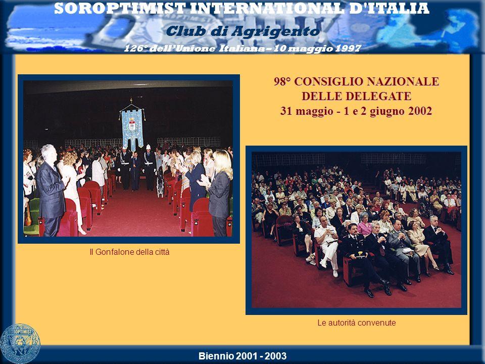 Biennio 2001 - 2003 SOROPTIMIST INTERNATIONAL D'ITALIA Club di Agrigento 126° dellUnione Italiana – 10 maggio 1997 Il Gonfalone della città Le autorit