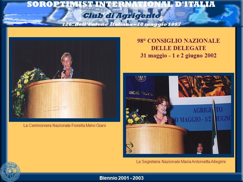 Biennio 2001 - 2003 SOROPTIMIST INTERNATIONAL D'ITALIA Club di Agrigento 126° dellUnione Italiana – 10 maggio 1997 La Segretaria Nazionale Maria Anton