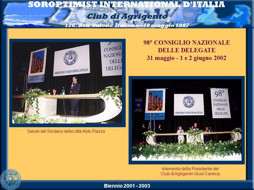 Biennio 2001 - 2003 SOROPTIMIST INTERNATIONAL D'ITALIA Club di Agrigento 126° dellUnione Italiana – 10 maggio 1997 Saluto del Sindaco della città Aldo