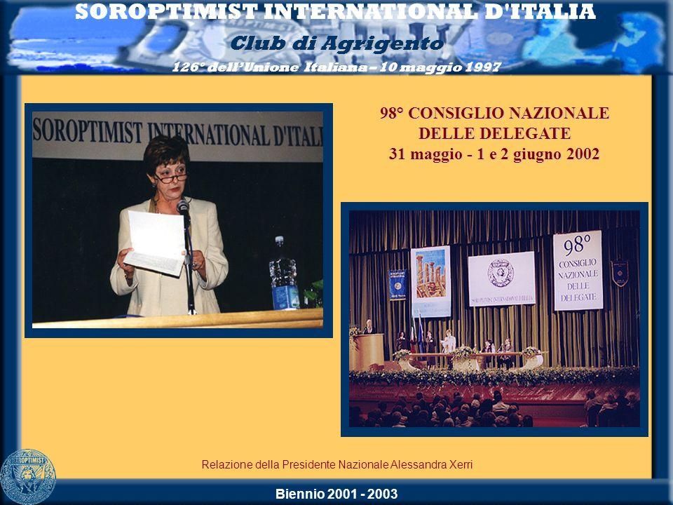 Biennio 2001 - 2003 SOROPTIMIST INTERNATIONAL D'ITALIA Club di Agrigento 126° dellUnione Italiana – 10 maggio 1997 Relazione della Presidente Nazional