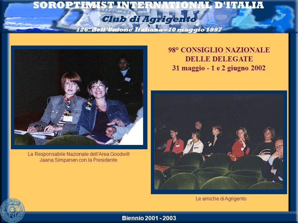 Biennio 2001 - 2003 SOROPTIMIST INTERNATIONAL D'ITALIA Club di Agrigento 126° dellUnione Italiana – 10 maggio 1997 Le amiche di Agrigento La Responsab