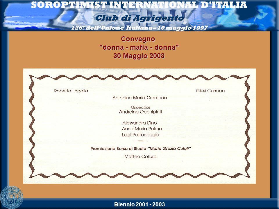 Biennio 2001 - 2003 SOROPTIMIST INTERNATIONAL D'ITALIA Club di Agrigento 126° dellUnione Italiana – 10 maggio 1997Convegno