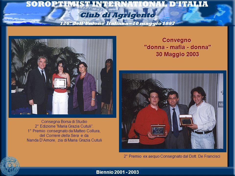 Biennio 2001 - 2003 SOROPTIMIST INTERNATIONAL D'ITALIA Club di Agrigento 126° dellUnione Italiana – 10 maggio 1997 Consegna Borsa di Studio 2° Edizion