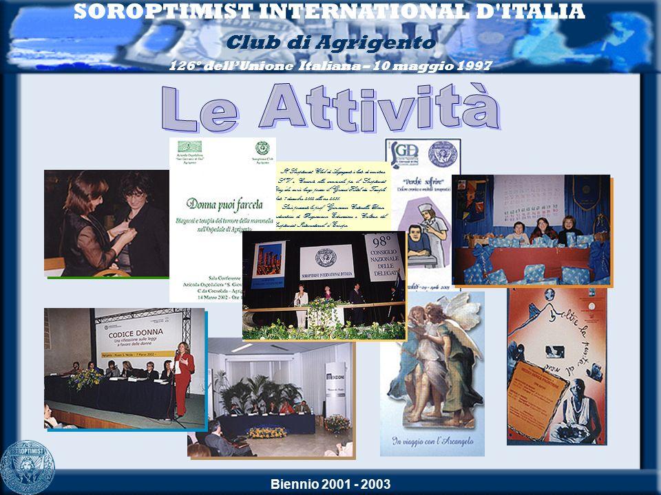 Biennio 2001 - 2003 SOROPTIMIST INTERNATIONAL D ITALIA Club di Agrigento 126° dellUnione Italiana – 10 maggio 1997 La Conviviale 98° CONSIGLIO NAZIONALE DELLE DELEGATE 31 maggio - 1 e 2 giugno 2002