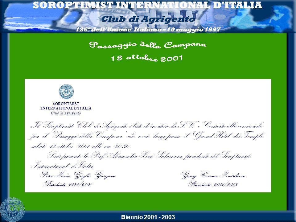 Biennio 2001 - 2003 SOROPTIMIST INTERNATIONAL D ITALIA Club di Agrigento 126° dellUnione Italiana – 10 maggio 1997 Laccoglienza 98° CONSIGLIO NAZIONALE DELLE DELEGATE 31 maggio - 1 e 2 giugno 2002