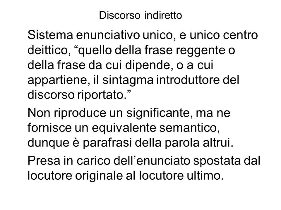 Discorso indiretto Sistema enunciativo unico, e unico centro deittico, quello della frase reggente o della frase da cui dipende, o a cui appartiene, il sintagma introduttore del discorso riportato.