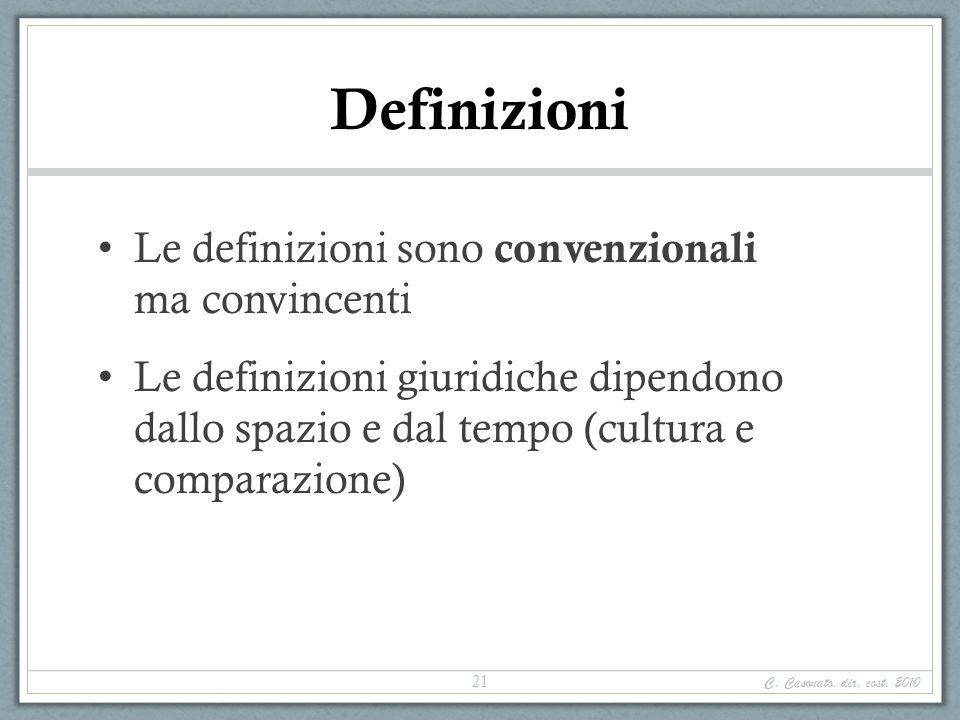 Definizioni Le definizioni sono convenzionali ma convincenti Le definizioni giuridiche dipendono dallo spazio e dal tempo (cultura e comparazione) C.