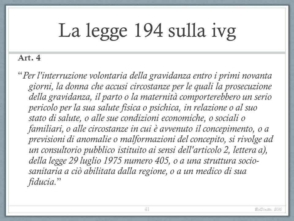 La legge 194 sulla ivg Art. 4 Per l'interruzione volontaria della gravidanza entro i primi novanta giorni, la donna che accusi circostanze per le qual