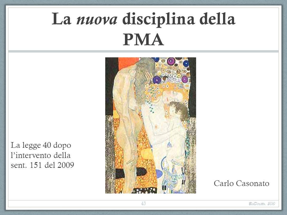 La nuova disciplina della PMA La legge 40 dopo lintervento della sent. 151 del 2009 Carlo Casonato BioDiritto, 2010 43