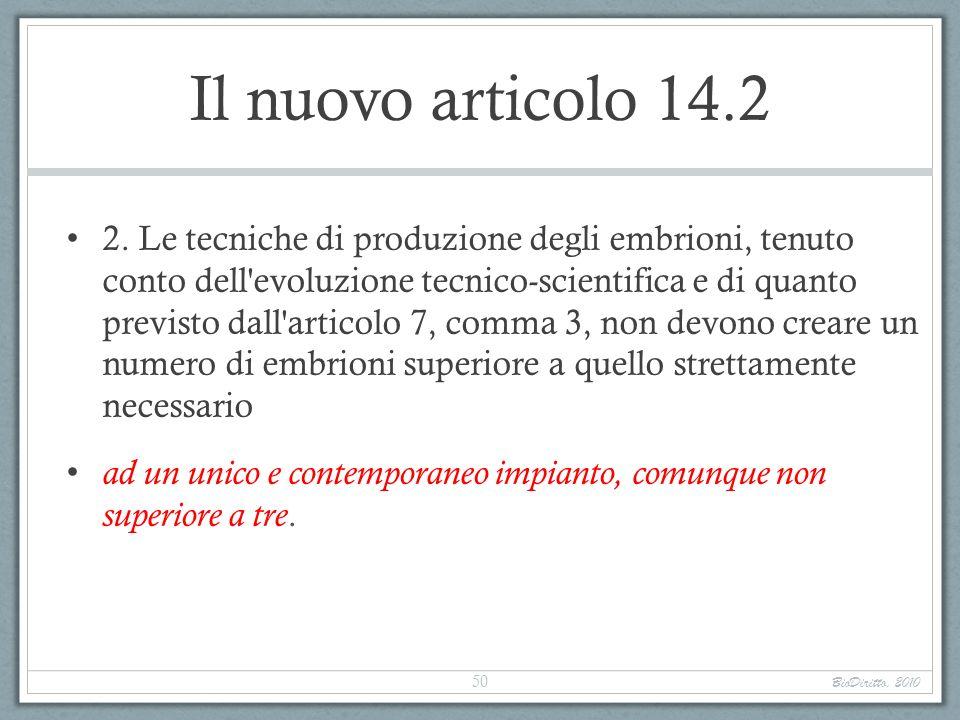 Il nuovo articolo 14.2 2. Le tecniche di produzione degli embrioni, tenuto conto dell'evoluzione tecnico-scientifica e di quanto previsto dall'articol