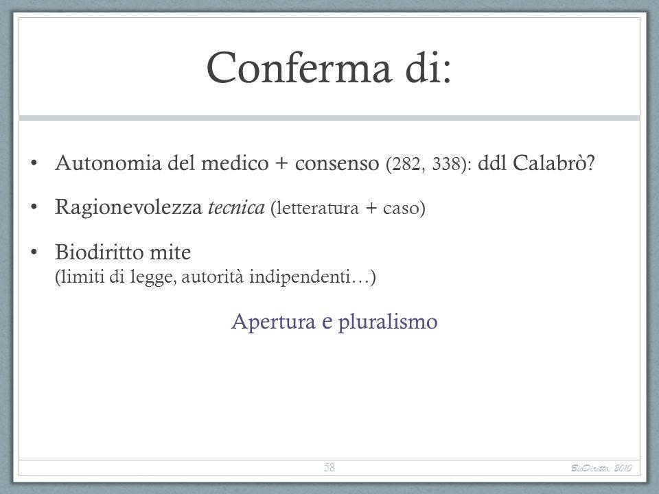 Conferma di: Autonomia del medico + consenso (282, 338): ddl Calabrò? Ragionevolezza tecnica (letteratura + caso) Biodiritto mite (limiti di legge, au