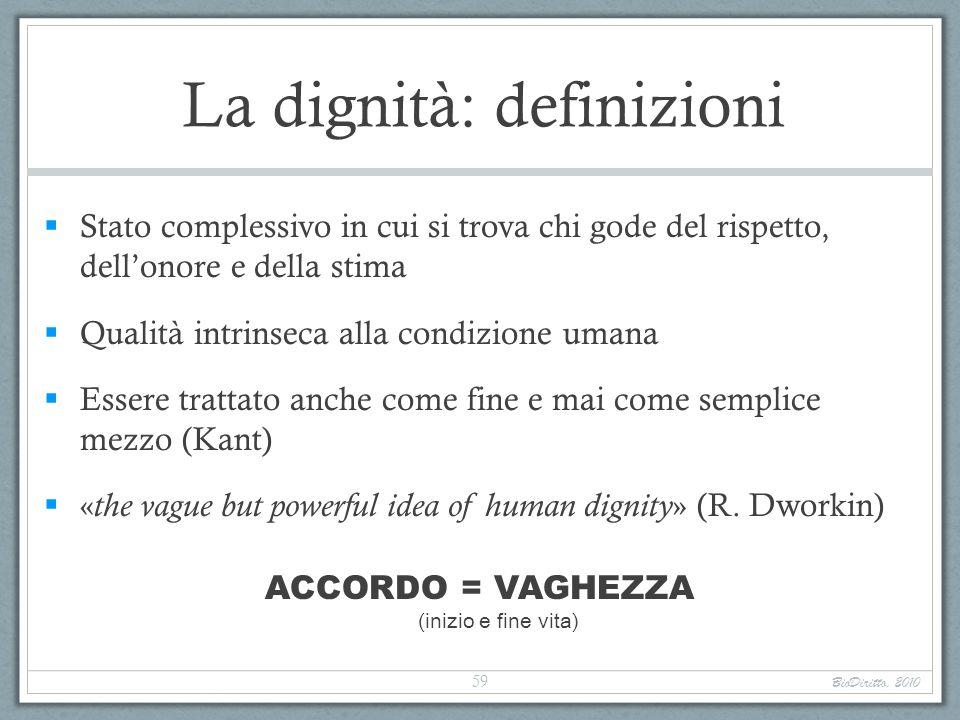 La dignità: definizioni Stato complessivo in cui si trova chi gode del rispetto, dellonore e della stima Qualità intrinseca alla condizione umana Esse